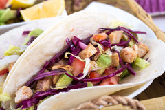 Mahi mahi fish soft taco. Mexican dish royalty free stock photos