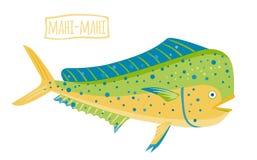 Mahi-mahi, ilustração dos desenhos animados do vetor Fotos de Stock Royalty Free
