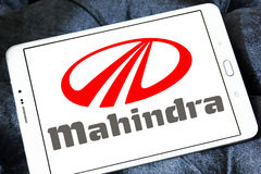 Mahindra car logo. Logo of mahindra car brand on samsung tablet Stock Photo