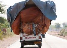 Mahindra pickup truck overloaded. Royalty Free Stock Photo