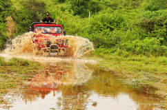 Mahindra Thar Offroading In The Jungle Royalty Free Stock Image