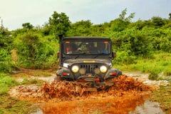 Mahindra Thar Offroading in the Jungle Stock Photo