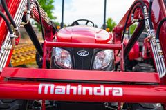 Mahindra tractor, front view. stock images