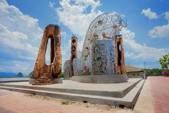 Mahindra Wooden Sculpture Located in Krabi Province, Thailand. Royalty Free Stock Images
