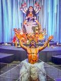 Mahishasura lub bawoli demon w Hinduskiej mitologii zabijać Maa Durga zdjęcie royalty free