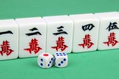 Mahjong. Closeup of mahjong tiles and dices stock photo