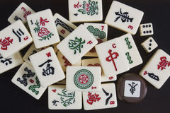 Mahjong. A ritual chinese old board game mahjong Stock Image
