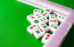 Mahjong. Play chinese mahjong on the talbe royalty free stock image