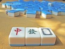Mahjong. Chinese mahjong on a table stock image