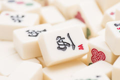 Mahjong board game pieces Royalty Free Stock Images