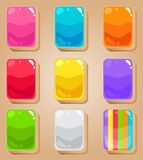 Mahjong cards style glossy with jelly in different color. 2d asset for user interface GUI in mobile application or casual video game. Vector for web or game Royalty Free Stock Photos