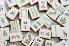 Mahjong. Chinese Mahjong Game Chess Tradition Gambling Dice Bargaining chip Bone Material  Ivory brand Stock Photography