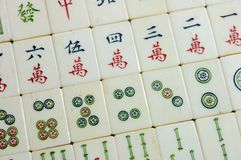 Mahjong. Chinese Mahjong Game Chess Tradition Gambling Dice Bargaining chip Bone Material  Ivory brand Stock Images