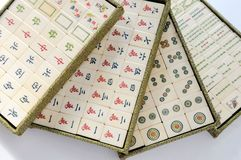 Mahjong. Chinese Mahjong Game Chess Tradition Gambling Dice Bargaining chip Bone Material  Ivory brand Stock Image