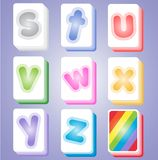 Mahjong color cards alphabet abc s-z. Royalty Free Stock Image