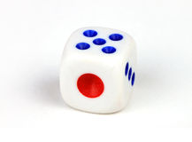 Mahjong dice. Macro of mahjong dice over white background stock images