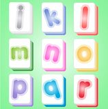 Mahjong-Farbe kardiert Alphabet-ABC-J-r Stockfotos