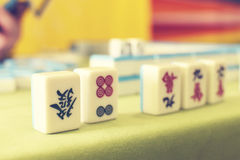 Mahjong. Game, table with  pieces Royalty Free Stock Photography