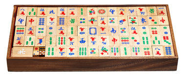 Mahjong game tiles in box isolated on white Stock Photos