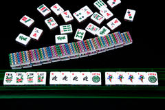 Mahjong hand on black background. Stock Photo