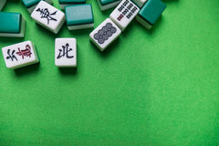 Mahjong płytki na Zielonym tle Zdjęcia Stock