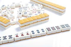 Mahjong. Pieces on white background royalty free stock photos