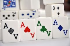 Mahjong set with four Aces Royalty Free Stock Image