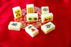 Mahjong. Stones of the chinese game stock photos