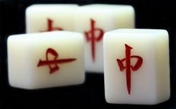 Mahjong Tile. Mahjong, the 4 red center tiles stock photos