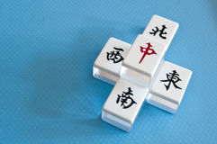 Mahjong tiles. Of direction, east, south, west, north stock images