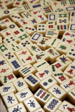Mahjong tiles. Collection of mahjong tiles in different patterns royalty free stock photography