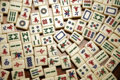 Mahjong tiles. Random mahjong tiles in various patterns stock image