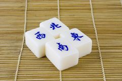 Mahjong tiles. Representing the four compass points in chinese royalty free stock photos