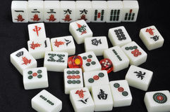 Mahjong tiles on black background Stock Photography