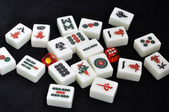 Mahjong tiles with dices Royalty Free Stock Image