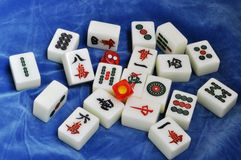 Mahjong tiles with dices Royalty Free Stock Photo