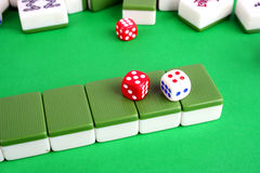 Mahjong tiles and two dice Royalty Free Stock Image