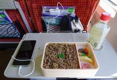 Mahlzeit für das Mittagessen im Shinkansen-Zug Lizenzfreie Stockbilder