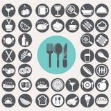 Mahlzeit- und Lebensmittelikonen eingestellt Lizenzfreies Stockbild