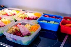 Mahlzeiten in den Plastikbehältern stockfotografie