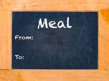 Mahlzeitzeit-Kreidebrett Stockbild