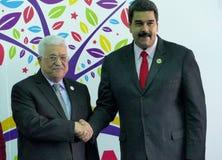 Mahmoud Abbas, president av Palestina och venezuelansk president Nicolas Maduro Arkivfoto