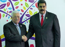 Mahmoud Abbas, president of Palestine and Venezuelan President Nicolas Maduro Stock Photo