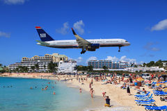 Maho bay in St.Martin Stock Image