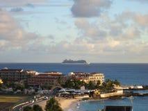 Maho Beach. Beach, Airport runway and condominiums at Maho Beach, Sint Maarten Stock Photo