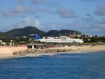 Maho Beach Airport at Sint Maarten. Insel Air Aircraft on tarmac of Princess Juliana Airport, bound for Aruba Stock Photography