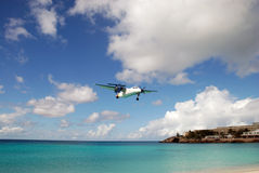 Maho Beach Plane Landing Saint Martin Royalty Free Stock Photography