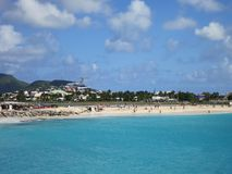 Maho Beach, Sint Maarten Photo stock