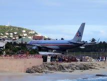 Maho Beach, Sint Maarten Royalty-vrije Stock Fotografie