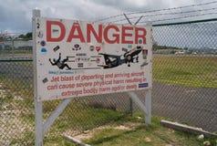 Danger Sign Warning of Jet Blast at Maho Beach stock photography